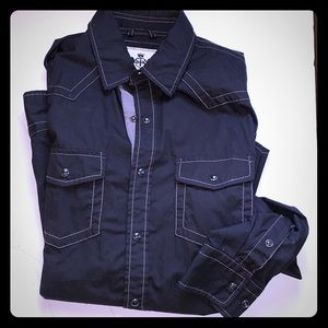 Express black snap button front shirt